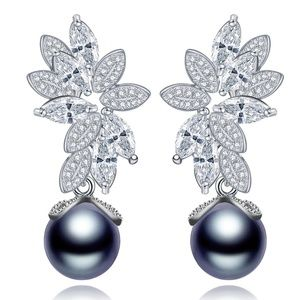 LUOTEEMI 925 Sterling Silver Cystal Earrings